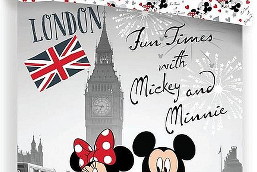 Povlečení Mickey and Minnie in London 140x200 70x90 Grey 140x200 70x90