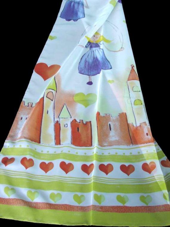 Záclona dětská L7070 180 cm 05 oranžová-zelená